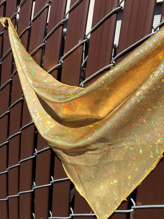 Gold on Gold Spandex Bandana w/ Shattered Glass Holographic Gold Rainbow Sheen and Hidden Stash Pocket