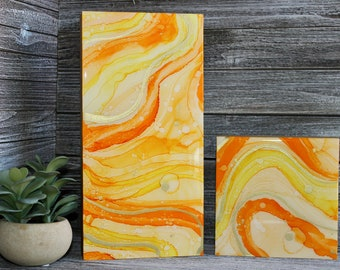 Citrus | Original abstract alcohol ink painting mounted on 1 1/2 inch thick cradled wood panel | Orange, yellow and gold | Set of two