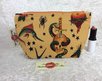 Handmade Zipper Case Zip Pouch fabric bag pencil case Alexander Henry Gothic Tattoo