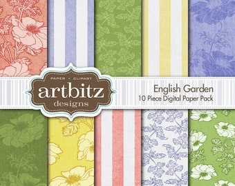 "English Garden 10 Piece Aged and Textured Digital Scrapbooking Paper Pack, 12""x12"", 300 dpi .jpg, Instant Download!"