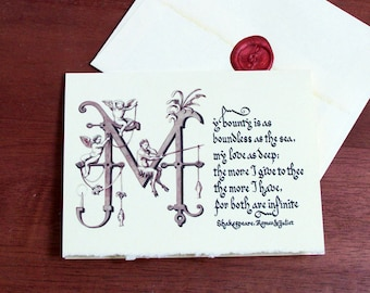 Shakespeare Valentine Card with Quote from Romeo and Juliet for Valentine's Day or Anniversary