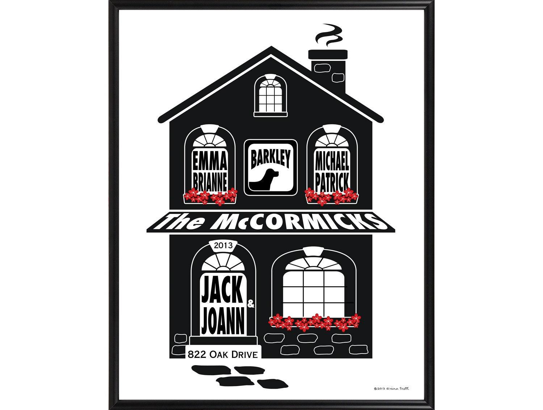 Impresión personalizada casa de la familia enmarcado