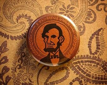 """1.25"""" Abe Lincoln - Copper Metallic Pinback Button"""