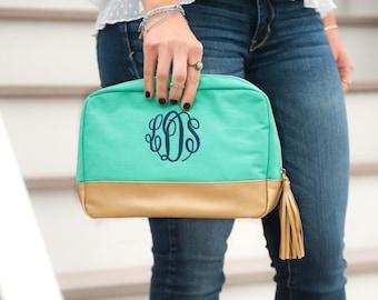 Cabana Monogrammed Cosmetic Bag, Monogram Cosmetic Bag, Personalized Cosmetic Bag, Bridesmaid Cosmetic Bag, Bridesmaid Makeup Bag