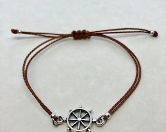ship wheel bracelet, adjustable string bracelet, adjustable bracelet, macrame knot, custom bracelet, gifts for her, party favors, bridesmaid