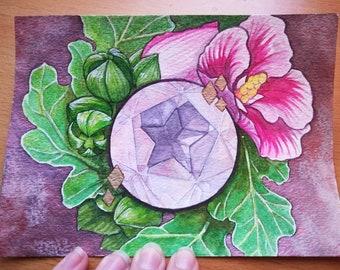 OOAK Rose Quartz Watercolor Illustration