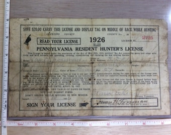 Vintage Old 1926 Pennsylvania Resident Hunter's License No 2725 Used