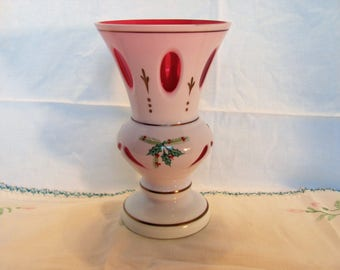 Bohemian Cased Glass Hand Painted Vase White cut to Cranberry