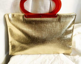 Vintage 1960 Gold Adjustable Purse or Tote with Lucite Handle