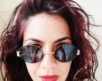 Unisex VOGART by POLICE SUNGLASSES Vintage 90 Oval Sunglasses Black Lenses Gold Tone Frame Sunglasses
