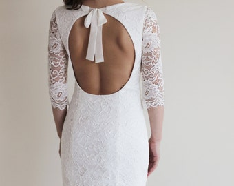 Reception Dress, Short Wedding Dress with Open Back, Custom Made French Lace Dress