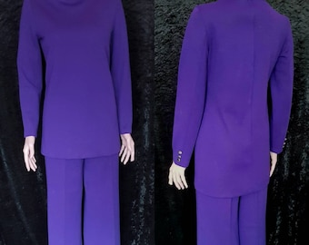 1960s Pant Suit, 1960s Matching Trouser and Tunic Set, 1960s Purple Two Piece Pant Suit by Jintys London, 1960s Purple Space Age Pant Suit
