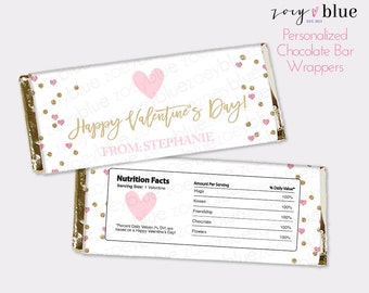 Valentine's Chocolate Bar Wrapper - Pink Gold Hearts Candy Bar Wrap - Happy Valentine's Day - Little Sweetheart first birthday - Printable