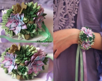 flower bracelet, succulent bracelet, succulent jewellery, bride bracelet, bride jewelry, bridesmaids gift, gift for her, green corsage