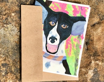 Four blank notecards with cute dog