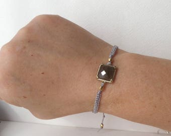 Labradorite Macramé Bracelet, Stone, Grey Macrame, adjustable bracelet, Antique Gold Setting, gift gor her, BFF gift.