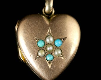 Antique Victorian Heart Locket Turquoise and Pearl Circa 1880