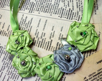 Pretty GREEN and Pewter GREY Beaded Rosette Necklace-Unique and Colorful