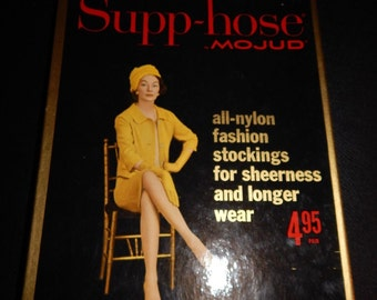 1960s Seamless Nylon Stockings Supp-hose by Mojud Size 8.5-9.5 New In Box
