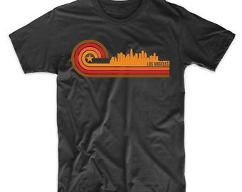 Retro Style Los Angeles California Skyline T-Shirt by Really Awesome Shirts