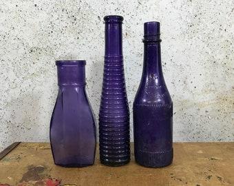Vintage PURPLE BOTTLE Lot - Amethyst Antique Bottles- Poison Bottle- Rochester NY- Decorative Unusual Shapes- Farmhouse Decor- R92
