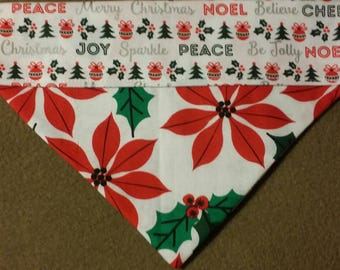 SALE! Reversible Poinsettia  Christmas Dog Bandana!