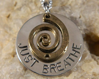 Just Breathe Inspirational Necklace