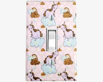 Unicorn Dreams light switch cover - Unicorn room decor for girls bedroom