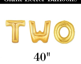 """Giant TWO 40"""" Gold Balloons - Second Birthday Gold Balloons"""