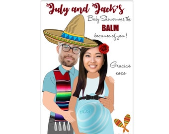 cinco de mayo EOS Lip Balm Baby Shower Favor, Mexican Fiesta EOS Lip Balm Baby Shower Favor, EOS Lip Balm Baby Shower Favor, Thank You Card