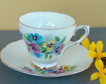 Vintage Royal Kendall Fine Bone China Teacup and Saucer-Violet Pattern