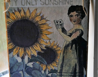 Wood Plaque of Folk Art Girl/Original Digital Design/Sunflowers/Primitive