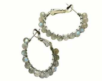 "Small Labradorite Hoop Earrings, Gray Natural Stone Hoops - Brushed Silver Wire Wrapped Hoops with Posts & Leverbacks (20mm, Beaded 1"")"