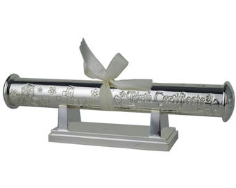 Personalised Certificate Holders-Silver plated-Free Engraving-New Born / Wedding/ Graduation / Christening Gifts