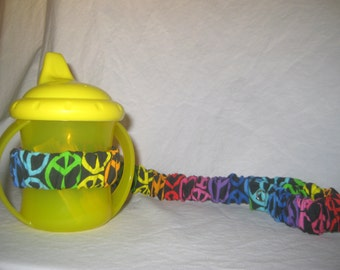 Sippy Cup Strap Rainbow Peace Signs on Black  Ready to Ship