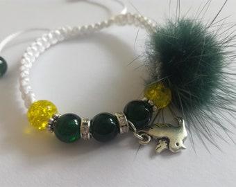 Macrame pompon bracelet
