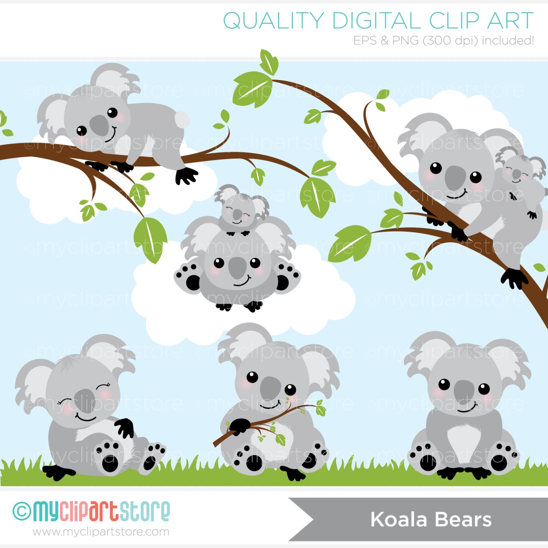 clipart koala bears digital clip art instant download rh etsy com Koala Bear Template koala bear clip art black and white