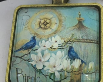 Antique Gold Colour Blue Birds and Birdcage Square Pendant Necklace- approx 22mm Square-Gifts For Her-Ladies Jewellery