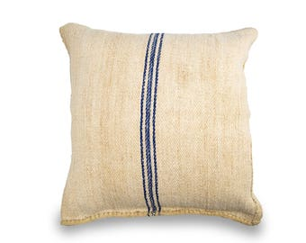 Vintage European Grain Sack Cushion with Blue Stripes down the middle