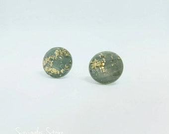 Round Grey Gold Leaf Faceted Stud Earrings Sensitive Ears