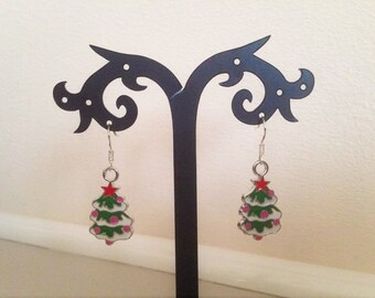 Christmas earrings, Christmas tree earrings, sterling silver hooks