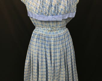 Adorable 1950's Blue & White Check Day Dress