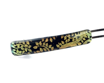 French Barrette Hair Clip, Gold Tree Branches, Leaves, Dichroic Glass
