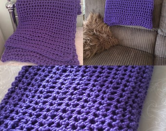 Chunky Crochet Blanket, Chunky Throw, Afghan blanket, Handmade, Purple