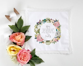 Mother of the Bride Handkerchief Gift - Wedding Handkerchief - Printed Handkerchief - Wedding Gift to Mother - Personalized Gift