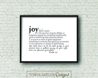 JOY Definition Print Psalm 1611 Digital Download Defined Series Scripture
