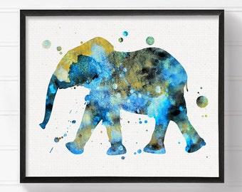 Watercolor Elephant Art - Elephant Painting - Elephant Art Print - Baby Boy Nursery - Boys Room Decor - Nursery Wall Decor, Animal Nursery
