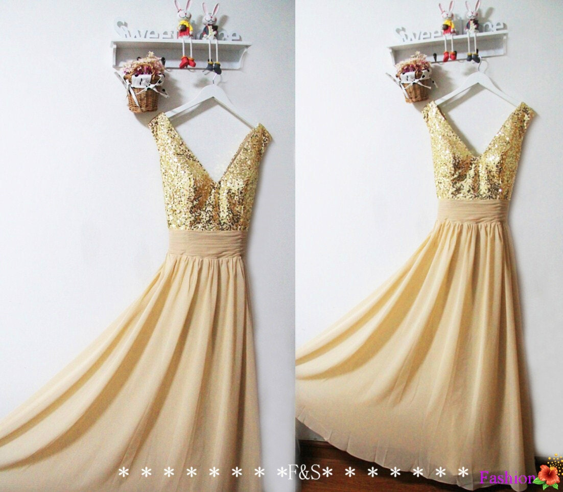 Gold Sequin Bridesmaid Dress Sparkly Evening Prom Dress Long