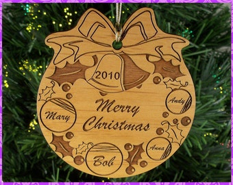 Personalized Custom Engraved Wood Christmas Wreath Ornament Family