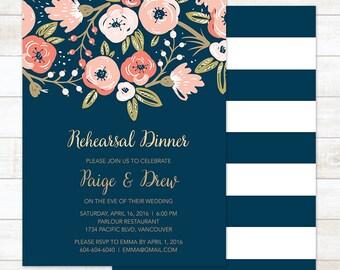 Rehearsal Dinner Invitation, Navy and Gold Rehearsal Dinner Invitation, Floral Rehearsal Dinner Invitation, Boho Rehearsal Dinner Invitation